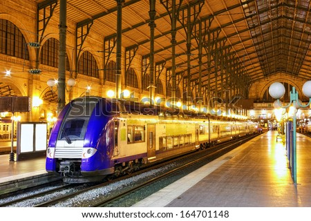 Modern Fast Passenger Train   at the station. Paris. France - stock photo
