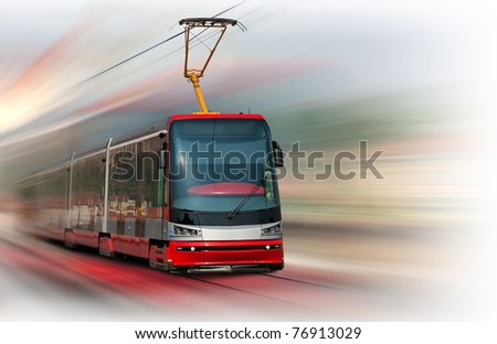 Modern fast tram with motion blur