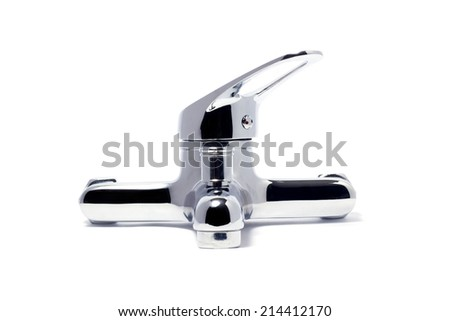 Modern Faucet Isolated On White - stock photo