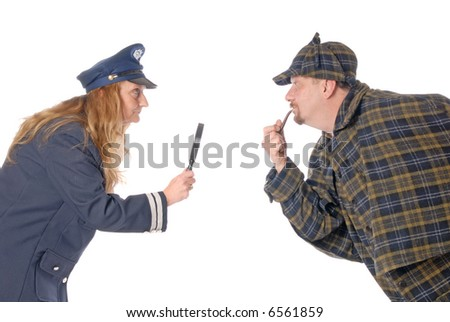 Modern female police officer and historical detective Sherlock Holmes detective brainstorming.  White background