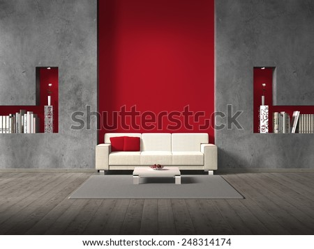modern fictitious living room with sofa and copy space for your own images - stock photo