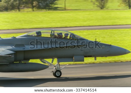 Modern fighter jet on the ground - stock photo