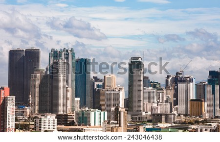 Modern financial and business district of Metro Manila, Philippines. - stock photo