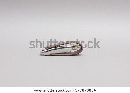 Modern flash drive. Flash drive with leather protection. - stock photo
