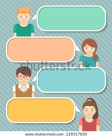 Modern flat colorful infographics elements with happy smiling boys and girls telling some information by speech bubbles with empty space for text - stock photo