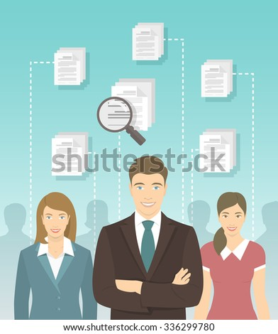 Modern flat conceptual illustration of human resources management, searching for perfect staff, analyzing resume, head hunting concept. Man in business suit in front of other candidates - stock photo