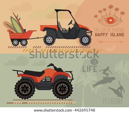 Modern flat design ATV.  Quad bike with trailer. Surfboards in the trailer. - stock photo