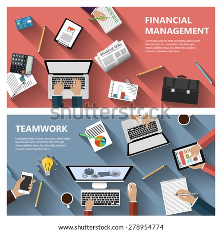 Modern flat design financial menagement and teamwork concept  for e-business, web sites, mobile applications, banners, corporate brochures, book covers, layouts etc. Raster copy of vector illustration - stock photo