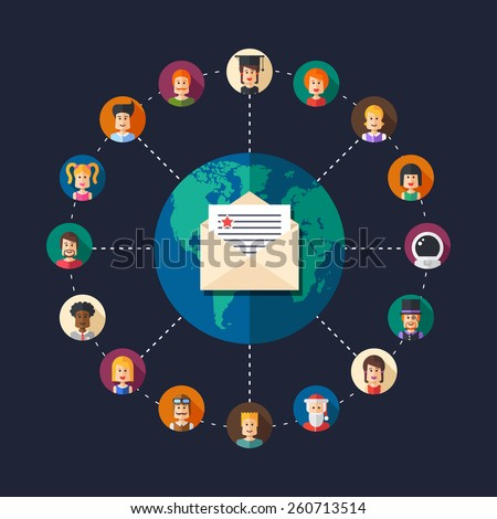Modern flat design illustration of people social network community - stock photo