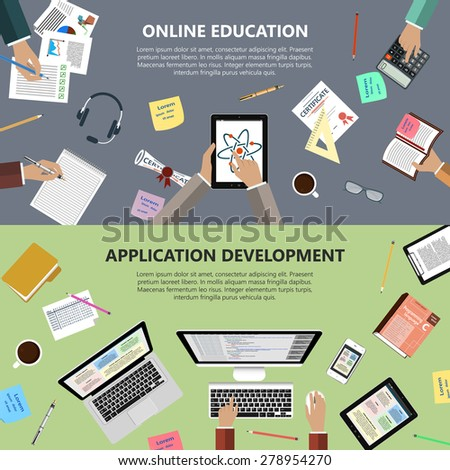 Modern flat design online education and app development concept  for e-business, web sites, mobile applications, banners, corporate brochures, book covers, layouts etc. Raster illustration - stock photo