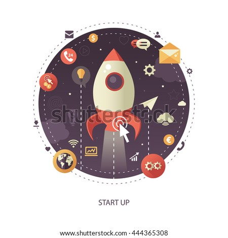 Modern flat design start up business infographics illustration with a rocket liftoff to the space
