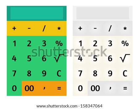 Modern flat design style mobile calculator. Set of two variants, colorful and pastel. Raster background