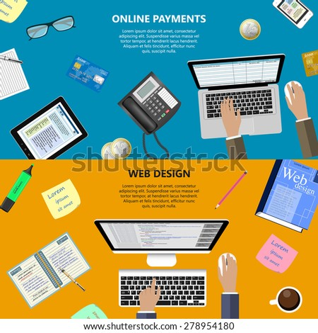 Modern flat design web design and online payments concept for e-business, web sites, mobile applications, banners, corporate brochures, book covers, layouts etc. Raster illustration - stock photo