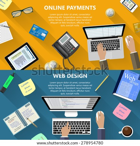 Modern flat design web design and online payments concept for e-business, web sites, mobile applications, banners, corporate brochures, book covers, layouts etc. Raster copy of vector illustration - stock photo
