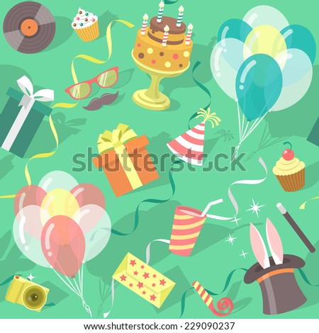 Modern flat holiday seamless birthday party pattern with colorful icons of gift boxes, balloons, birthday cake, magic tricks, party hat. Invitation card, wrapping paper or website background design