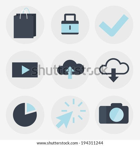 Modern flat icons collection, web design objects, business, finance, office and marketing items., raster version - stock photo