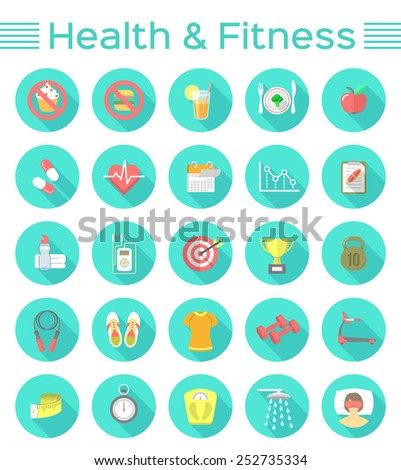 Modern flat icons of healthy lifestyle, fitness and physical activity. Diet, exercising in the gym, training equipment and clothing. Wellness icons for website, mobile application or print ads - stock photo
