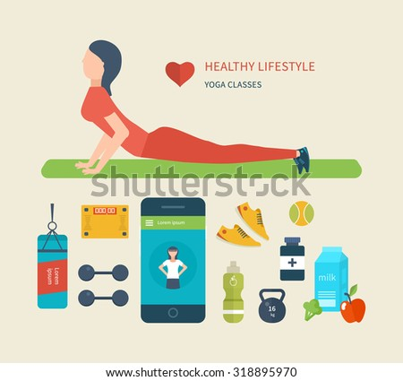 Modern flat icons of healthy lifestyle, fitness and physical activity. Diet, exercising in the gym, training equipment and clothing. Concept of healthy lifestyle.  Young woman practices yoga. - stock photo