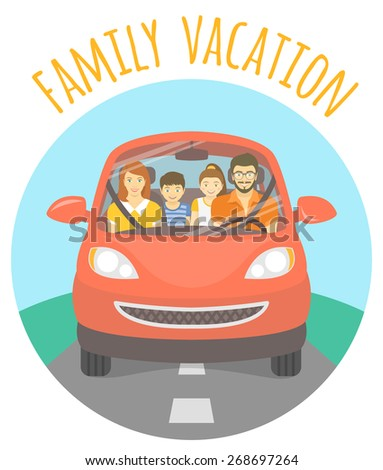 Modern flat illustration of a family vacation. Husband, wife, son and daughter on the way to a picnic outdoors. Front view of a happy family in red car on the road - stock photo