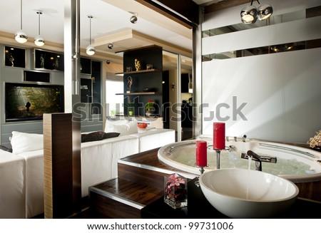 Modern flat interior living room jacuzzi stock photo edit now