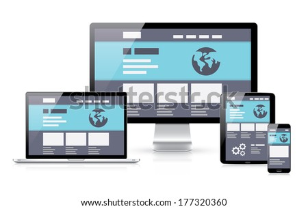 Modern flat & responsive illustration of computer coding in electronic devices laptop, tablet, computer and smartphone. - stock photo