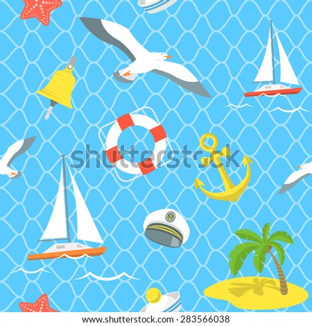 Modern flat seamless pattern with various nautical elements in flat style. Summer vacation and sea voyage traveling background. Website backdrop, book cover, printing on fabric, wallpaper design - stock photo