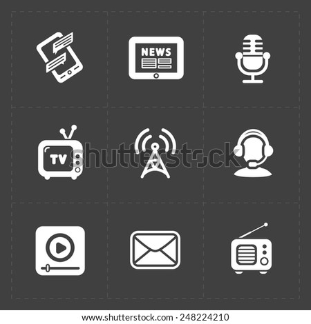 Modern flat social icons set on dark background