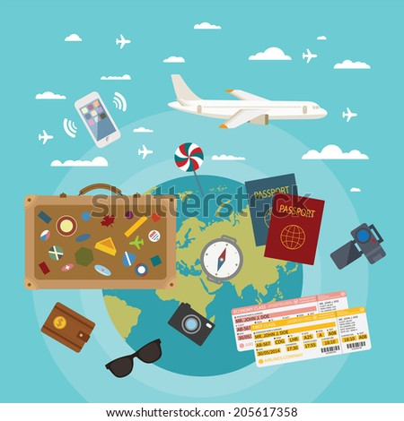 Modern flat style concept for tourism industry, travelling on airplane, planning summer vacations. Rasterized version. - stock photo