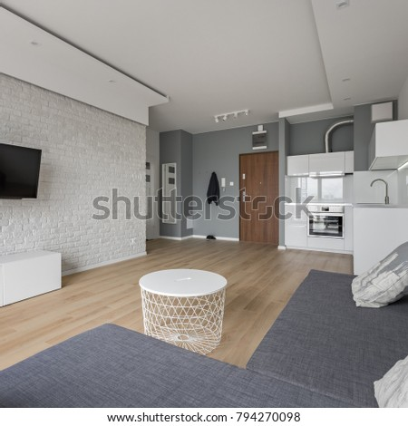 Modern flat with tv room, sofa, coffee table and small, open kitchen