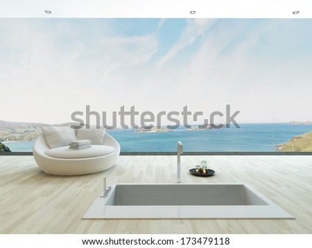 Modern floor bathtub against huge window with seascape view - stock photo