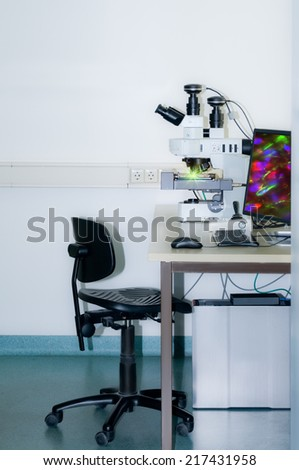 Modern fluorescent microstope working station, text space - stock photo