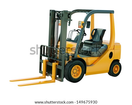 Modern forklift truck isolated on white background - stock photo