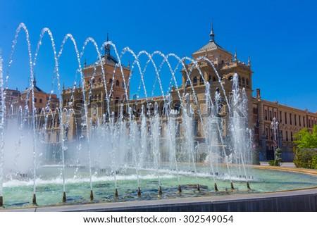 Modern fountain in the square Zorrilla in Valladolid, Spain - stock photo