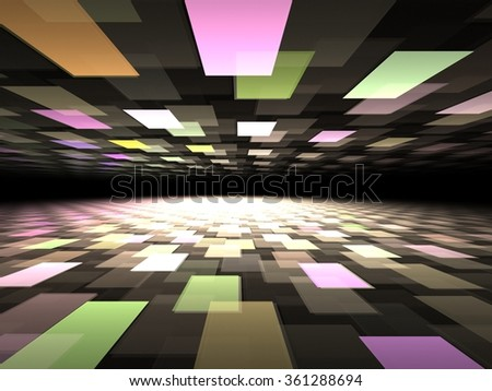 Modern fractal background with rectangles multicolored