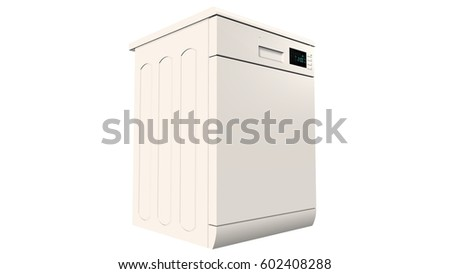 modern freestanding dishwasher isolated on white - 3d rendering