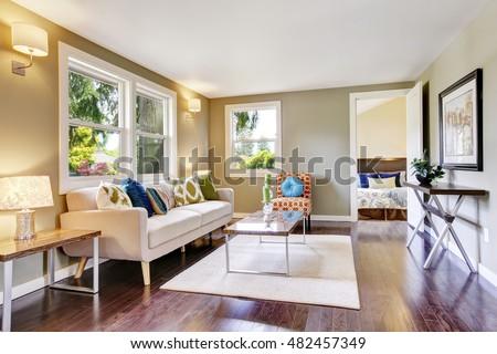Modern Furnished Living Room Interior With Hardwood Floor Northwest USA