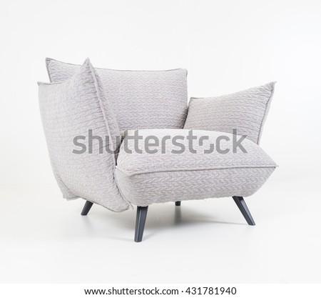 Modern furniture in white room - stock photo