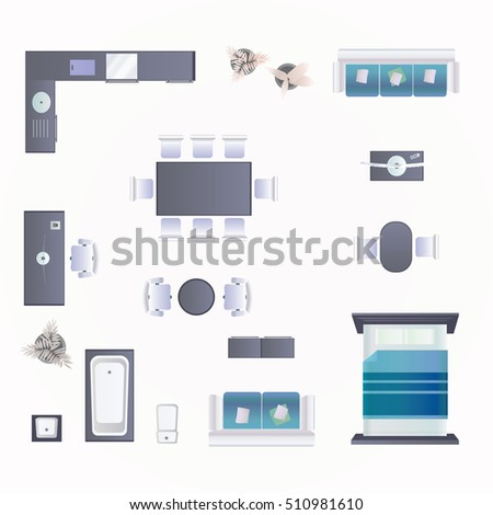 Modern Furniture Top View modern furniture design elements top view stock vector 484951753