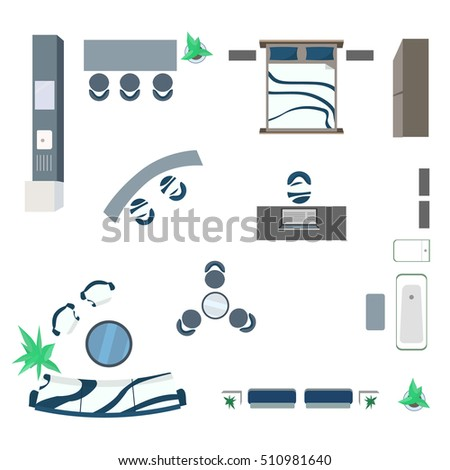 Modern Furniture Design Elements Top View Stock Vector