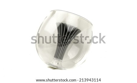 Modern futuristic design of light bulbs. Energy saving fluorescent LED bulb isolated on white background - stock photo