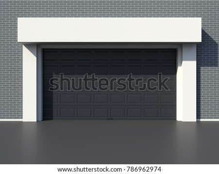 Modern garage black door 3D render