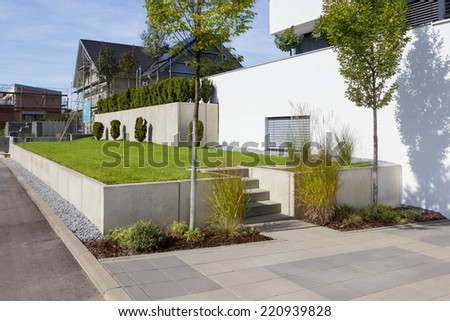 Modern garden design - stock photo
