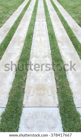 Modern Gardening Design. Perspective View of Marble Brick Stone Flooring Tiles Square Pattern on The Ground as Sidewalk or Footpath or Pavement with Line of Grasses in The Garden