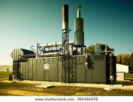 Modern gas engine energy generator outdoor - stock photo