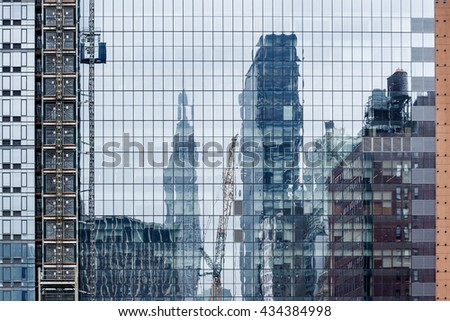 modern geometric abstraction glass windows and reflection a skyscrapers - stock photo
