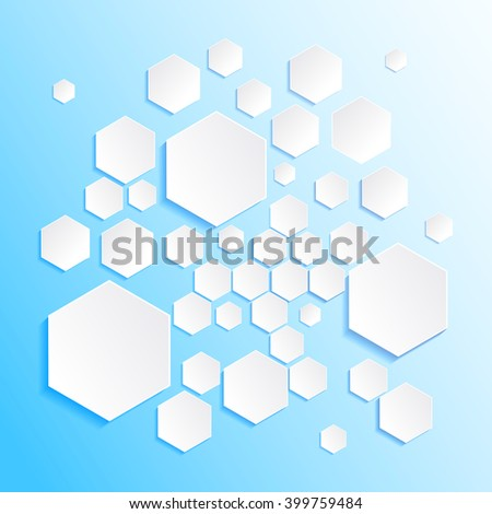 Modern geometrical abstract template. White hexagons.