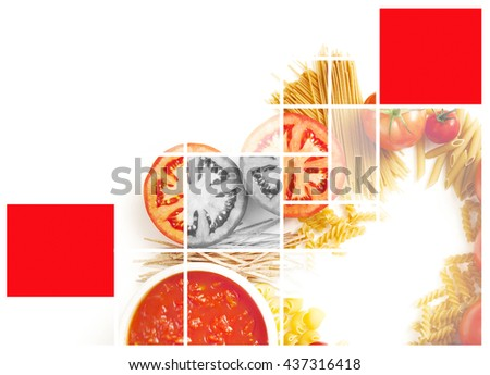 MODERN GEOMETRICAL EFFECT ON TOMATO AND PASTA IMAGE  - stock photo