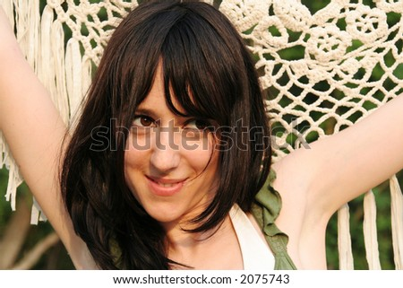 Modern girl with happy face expression - stock photo