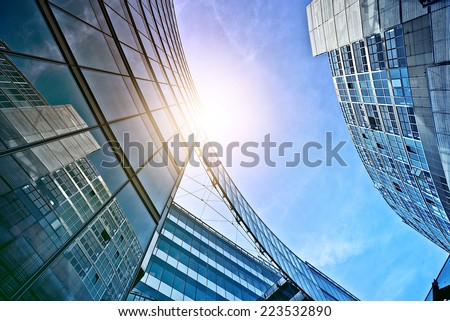 modern glass and steel office buildings near Potsdamer Platz, Berlin, Germany - stock photo