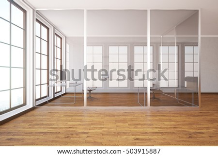 Modern glass box office interior with wooden floor, concrete walls and windows. 3D Rendering